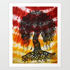 Tie-Dyed Henna Mehndi-Inspired Tree of Life Print Art Print by Behennaed - $17.68