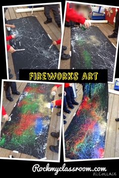 "Fireworks art "" PVA glue drizzle and a years supply of glitter to make this gorgeous display back drop! Diwali Activities, Eyfs Activities, Nursery Activities, Autumn Activities, Toddler Activities, Bonfire Night Activities, Bonfire Night Crafts, Happy Birthday Fireworks, Happy New Year Fireworks"