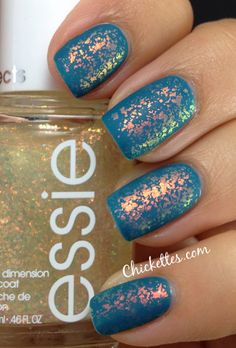 Essie Shine of the Times and Matte About You.I love these nails! I love Essie Gorgeous Nails, Love Nails, How To Do Nails, Pretty Nails, Fun Nails, Sparkle Nails, Glitter Nails, Matte Nails, Acrylic Nails