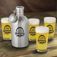 Stainless Steel Brewery Beer Growler with Pint Glass Set