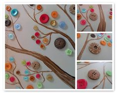 Make this beautiful button tree for your home. This button tree tutorial shows you step by step how to turn an ordinary canvas into colorful wall art! Diy Arts And Crafts, Fun Crafts, Crafts For Kids, Baby Crafts, Craft Gifts, Diy Gifts, Button Art On Canvas, Button Tree, Art Diy
