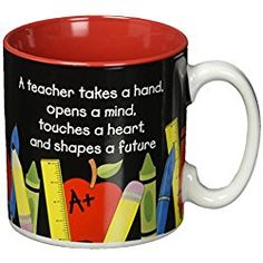 #1 Teacher 13 oz Coffee Mug with Pencil, Rulers, Crayons, and Pen Accents Inexpensive Teacher's Gift