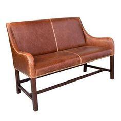 Leather Settee in Antique Saddle | Nebraska Furniture Mart