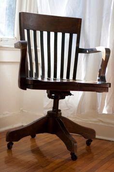 Vintage wood office chair Would be cute with custom cushion