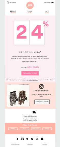 Public Desire uses dropping discounts to encourage customers to act fast.