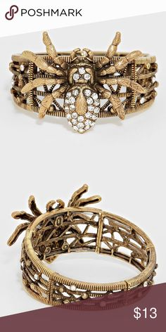 "Pave Spider Stretch Bracelet • Style No : [281007] • Color : Gold Burnished, Clear • Size : 2 1/4"" X 1 3/4"" / Stretchable • Crystal Pave Spider Stretch Bracelet Jewelry Bracelets"