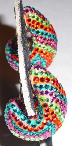 Multi-colored Pave crystal wide semi-hoop clip earrings, stamped Richard Kerr