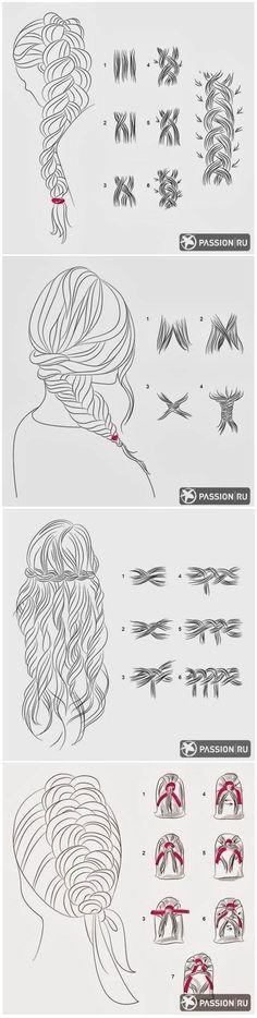 Et pour faire différentes sortes de nattes sur des cheveux longs: | Des graphiques qui aideront toutes les filles nulles en coiffure