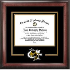 Georgia Tech GT Yellow Jackets Matted Diploma With Mahogany Frame