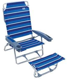"The Big ""K"" 2 Footrest Beach Chair. The extra-tall seat back cushions your head and neck, while the attached footrest keeps your feet elevated and off the sand."