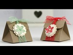 """Petite Petals 2015-2017 In Color 1"""" Dotted Lace Trim (Watermelon Wonder & Mint Macaron), Petite Petals, 1"""" Circle, 1-1/4"""" Scallop Circle & Corner Rounder punches, Dazzling Diamonds Glimmer Paper, Pearls - Tip Top Taupe Triangular Treat Box Tutorial"""