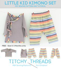 "Free Sewing Pattern (PDF) & Tutorial: Infant's knit ""kimono"" set (size 0-3 months only) from Titchy Threads store"