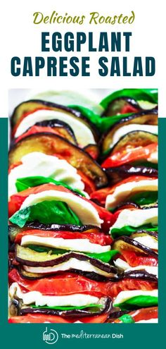 A slight spin on the beloved Italian summer classic, this roasted eggplant Caprese salad recipe makes the perfect satisfying appetizer or even side dish! #capresesalad #healthy Vegetarian Recipes Easy, Healthy Salad Recipes, Clean Eating Recipes, Great Recipes, Easy Recipes, Amazing Recipes, Mediterranean Fish Recipe, Mediterranean Dishes, Caprese Salad Recipe