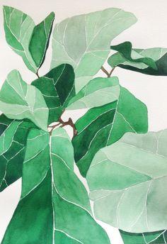 Fiddle Fig Leaf aquarelle originale par EmilyAnnGrady sur Etsy