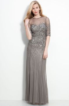 Adrianna Papell Beaded Illusion Bodice Mesh Gown in Gray (lead) - Lyst