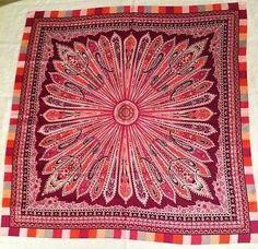 Womens Talbots Large Silk Scarf Gorgeous Paisley Pinks Orange Plums