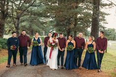 TOAST WEDDINGS| Photography | Bridal Party Style|   Stylish bridal party strolling at Baxter Barn. Such a beautiful colour combo