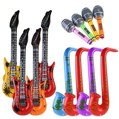 New Cute Inflatable Rock Guitar Party Musical Instrument Toy Dirthday Show Gift Kids Education 4 Colors Wholesale Refreshment Home & Garden Festive & Party Supplies