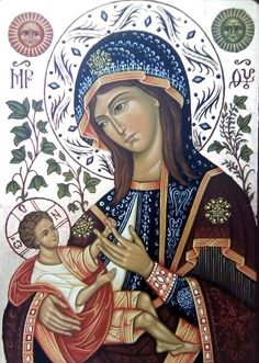 The Hodegetria is an icon illustrating St. Mary holding the Christ child on her side while gesturing to Him as our source of salvation.