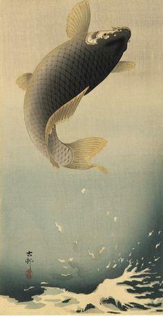 Leaping Carp - Ohara Koson