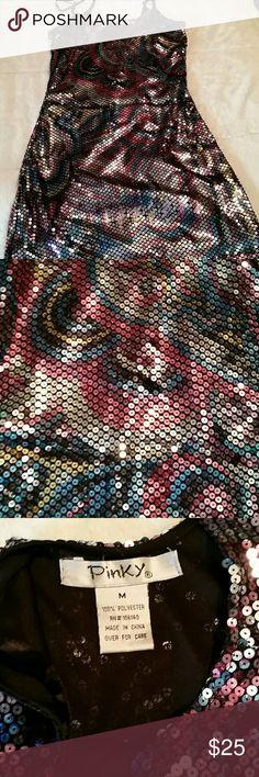 Paisley sequin dress.. NWOT. Paisley sequin dress unbelievable shiny. Great party dress Pinky Dresses