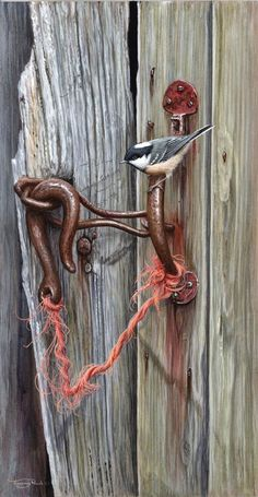 """""""Sometimes I lie awake at night, and I ask, 'Where have I gone wrong'. Then a voice says to me, 'This is going to take more than one night.""""~ Charles M. Schulz Jeremy Paul ~chickadee on door handle"""