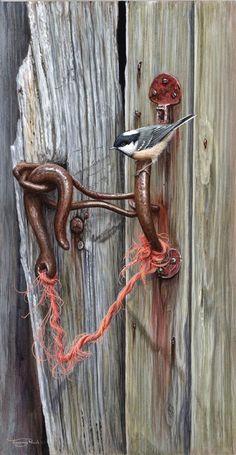 chickadee on door handle