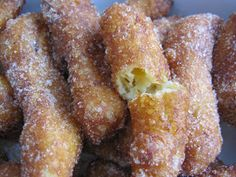 "Jazibe's recipes: Churros ~ These are not like Mexican ""street"" churros, and are more like soft ""doughnut sticks"", but they are yummy and fast and easy to make for a quick sugar/flour craving!"