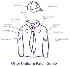 Vintage uniform Baden Powell Scouts, Otters, Patches, Cedar Log, Scouting, Vintage, Outdoors, Otter, Vintage Comics