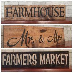 "Large Rustic Wood Sign - ""Farmhouse"" - Fixer Upper, HGTV, DIY, Wood"