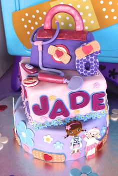 Amazing cake at a Doc Mcstuffins birthday party! See more party planning ideas at CatchMyParty.com!