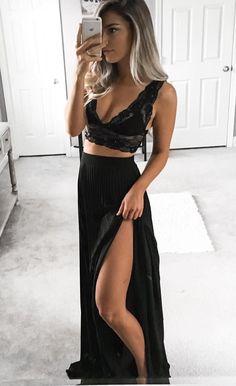 9615c0acbc two piece black long prom dresses