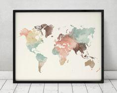 Welt Karte Aquarell print Reisekarte große von ArtPrintsVicky