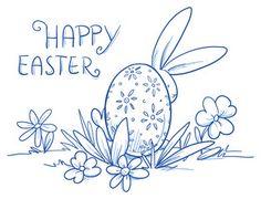 Vektor: Cute Easter Bunny hiding behind easter egg, flower egg decoration, pattern. Hand drawn vector illustration.