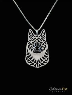 Norwegian Elkhound - sterling silver pendant and necklace