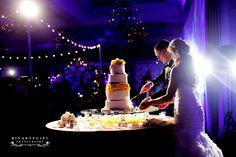 Orlando wedding lighting at the Waldorf Astoria Orlando. Lighting by keventlighting.com #waldorfastoriaorlando #waldorforlando #waldorfwedding #orlandowedding #ballroomwedding #beautifulwedding #weddingreception #weddinglighting #cakecutting