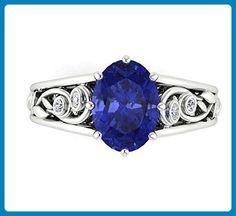Engagement Wedding Ring, 14k White Solid Gold, Bridal Diamond Rings, Natural Tanzanite Engagement Ring, Diamond Wedding Ring, Anniversary Ring. - Wedding and engagement rings (*Amazon Partner-Link)
