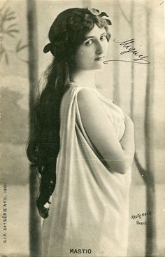 Vintage French hand tinted photo postcard - Actress miss Mastio with laurel wreath - Victorian Paper Ephemera