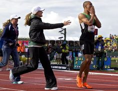 As tears roll down Ashton Eaton's face, Brianne Theisen rushes to his side. Eaton had just set the world record in the decathlon.
