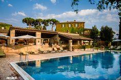 Borgo San Felice Wedding Photographer - the swimming pool #BorgoSanFelice #TuscanyWeddingPhotographer - www.jonmoldweddings.com