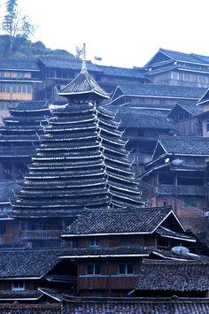 The Dong village in Sanjiang, Guangxi