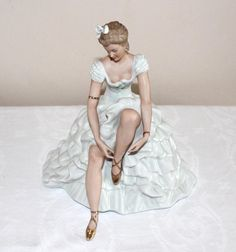 Wallendorf figurine of a seated ballerina no. by lizzylovesvintage, $79.00