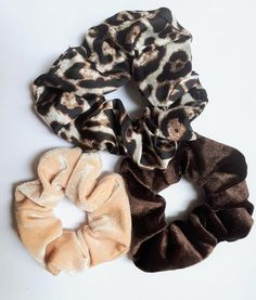 Beautiful Soft Scrunchies | Leopard Scrunchie, Champagne Velvet Scrunchie, Brown Velvet Scrunchie  Our Premium scrunchies are much kinder than regular elastics = less snags and breakage. Super comfortable to wear!  ♥Our premium OEKO-TEX Certified elastic that we use sets us apart from others. ♥Soft & stretchy and extremely gentle to your hair and skin. ♥Super comfortable to wear. ♥Perfect for working out, and everyday use. ♥Great for all hair types, ages and they make great gifts!