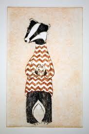 badger woodcut