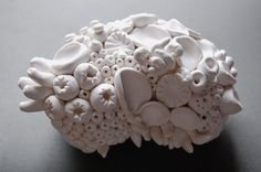 Coral Reef Sculpture White Clay Textures of the Sea Modern