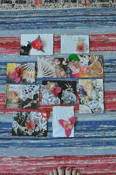 10 mixed media flower power postcards made by my cousin Charlotta, for the #DIYpostcardSwap 2012!