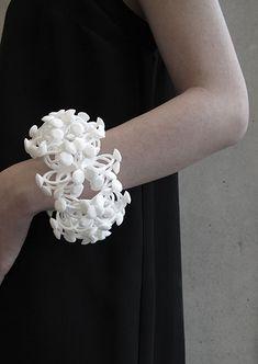 Contemporary jewellery art - sculptural bracelet made with nylon, resin & silver // Kuntee Sirikrai