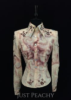 Cranberry and Ivory Horse Show Shirt by Paula's Place ~ Just Peachy