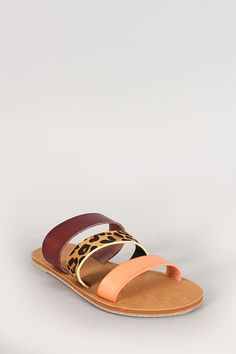 db86aeea9 Leopard Leatherette Three Band Flat Sandal