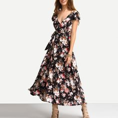 Deep V-Neck Floral Long Maxi Beach Swing Dress_Dresses_Women_Women's Fashion Zone & Best Price Clothes